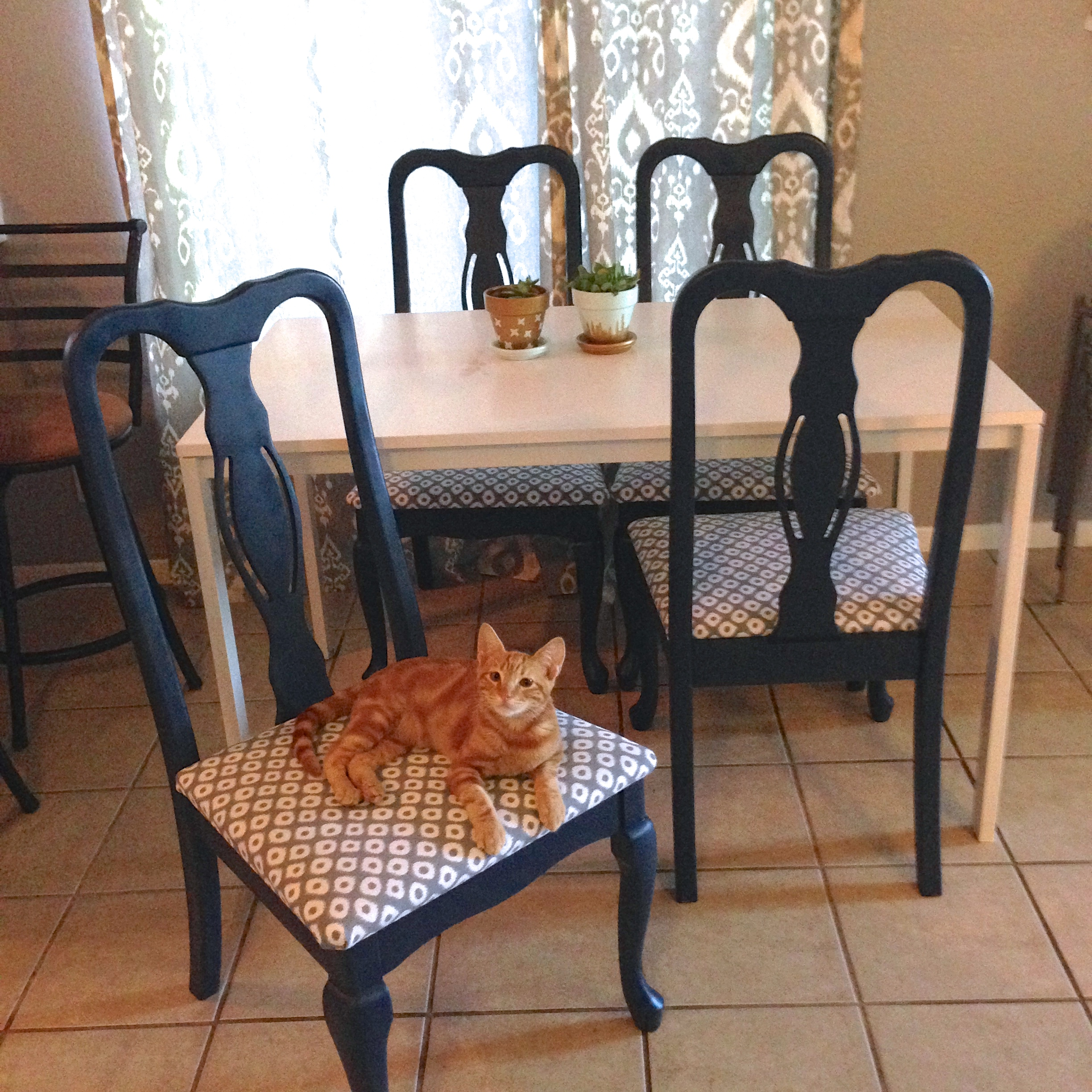 Dining room chairs makeover revamperate for Dining room makeover