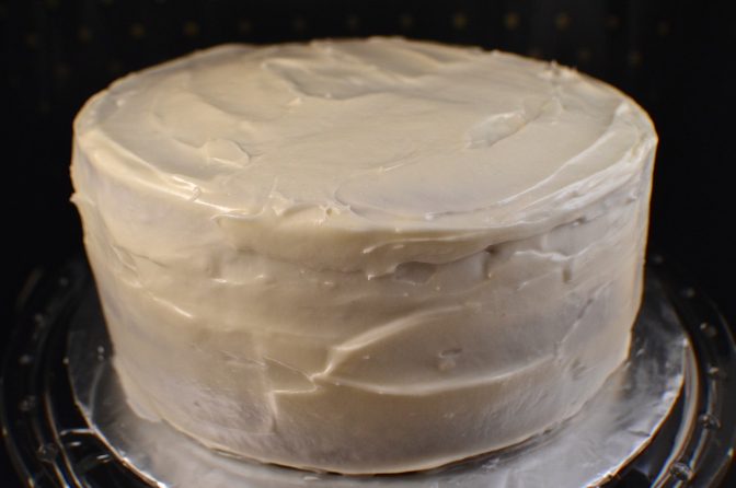 Layered Spice Cake with Butter Rum Cream Cheese Frosting (Eggnog Cake)