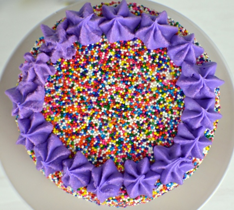 Purple Ombre Layered Sprinkle Cake | Revamperate