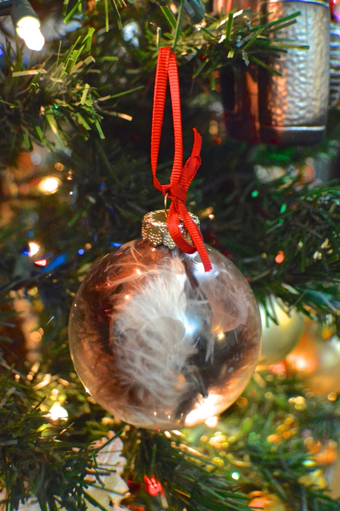 Feather Glass Christmas Ornament